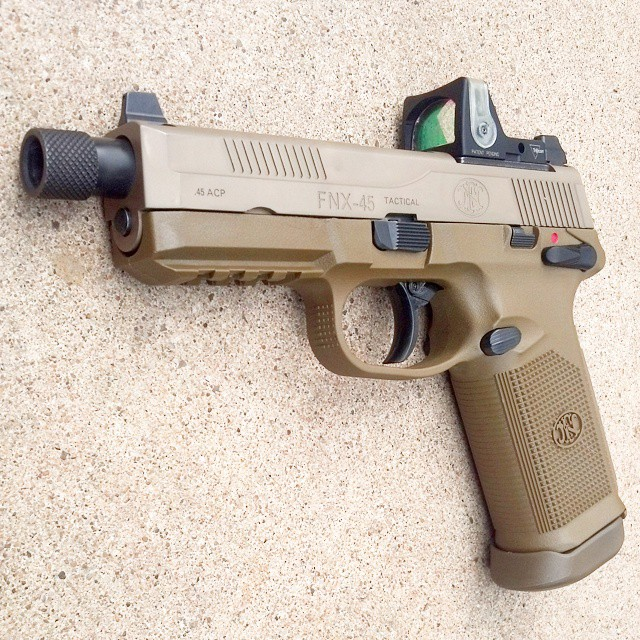 Fnh fnx 45 tactical in fde with a trijicon rm04 reflex sight fnh